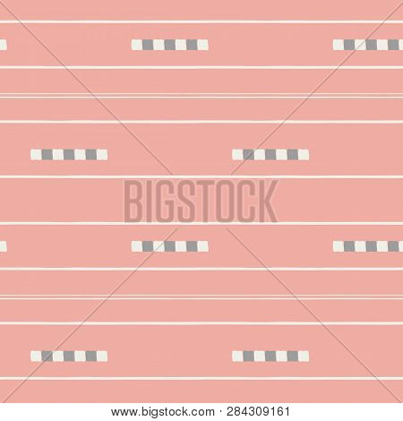 Sophisticated White And Soft Brown Hand Drawn Tiles And Stripes On Vibrant Coral Background. Seamles