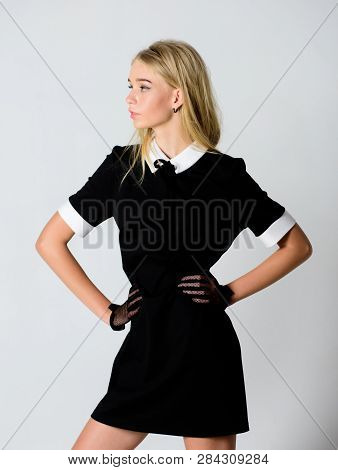 Girl Blonde Wear Elegant Black Dress. Formal Uniform Elite School College Or Housemaid. Vintage Mode