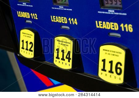 112 Octane , 114 Octane , Or 116 Octane. At The Gas Station. High Octane Gas Fuel Pump