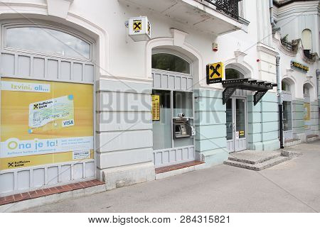 Subotica, Serbia - August 12, 2012: Raiffeisen Bank Branch In Subotica, Serbia. There Are 30 Commerc