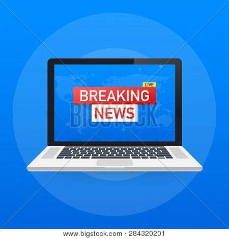 Breaking News Live On World Map Background. News Background, Breaking News, Vector Infographic With
