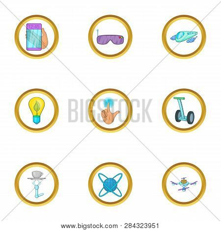 Future Gadget Icon Set. Cartoon Style Set Of 9 Future Gadget Icons For Web Isolated On White Backgro