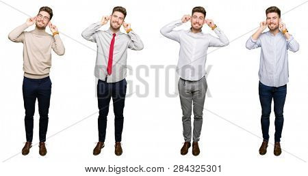 Collage of handsome young business man over white isolated background Smiling pulling ears with fingers, funny gesture. Audition problem