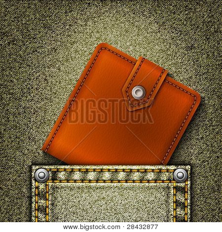 Realistic vector denim background with wallet in pocket.