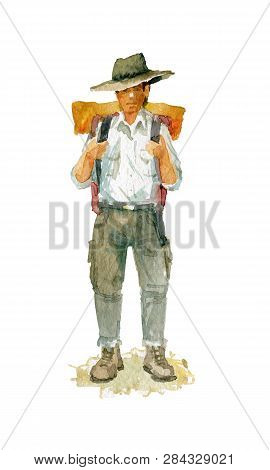Watercolor Sketch. A Young Man With A Backpack And A Hat. Depicted In Full Growth.