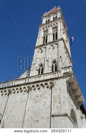 Tower Of St. Lawrence Cathedral In Trogir, Croatia