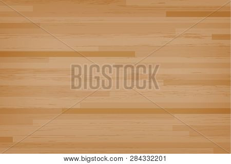 Hardwood Maple Basketball Court Floor Viewed From Above. Wooden Floor Pattern And Texture. Vector.