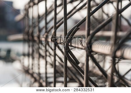 Reinforcement Of Concrete Work. Using Steel Wire For Securing Steel Bars With Wire Rod For Reinforce