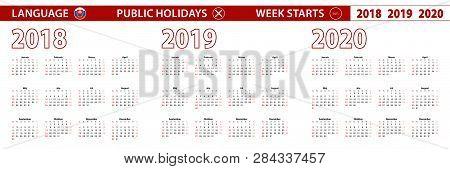 2018, 2019, 2020 Year Vector Calendar In Slovak Language, Week Starts On Sunday