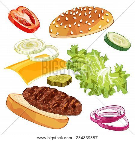 Vector Colorfull Burger Ads Over Any Background