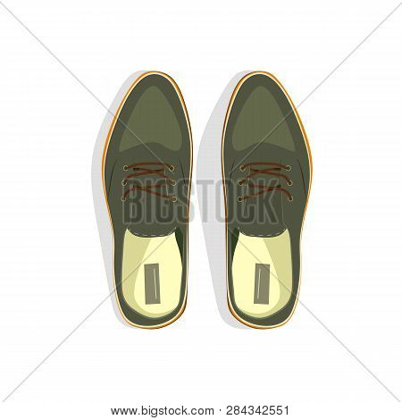 Gray Male Shoes Vector Illustration. Style, Male Fashion, Formalwear. Shoes Concept. Vector Illustra