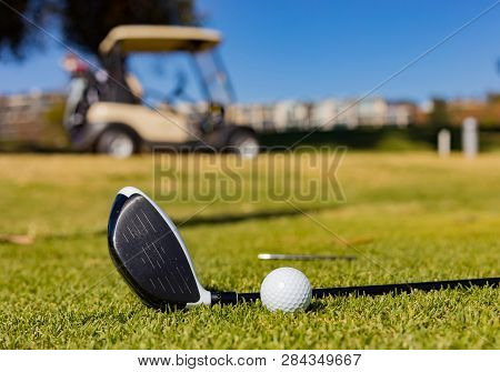 Close up of a Golf Ball on a Fairway green at a golf course poster