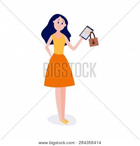 Young Girl Standing And Holding Chain-bound And Locked Digital Tablet.