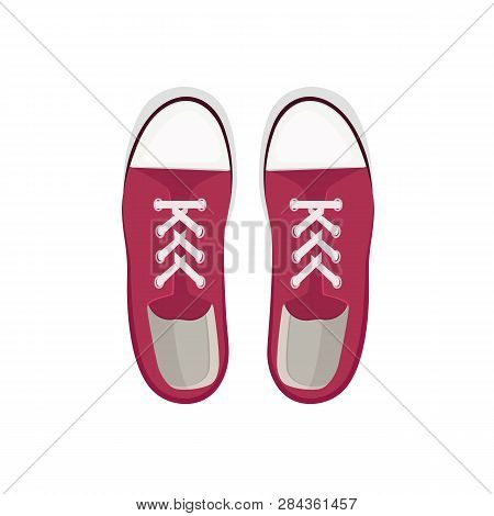Red gumshoes illustration. Summer, spring, footwear. Fashion concept. Vector illustration can be used for topics shopping, wardrobe, casual style poster