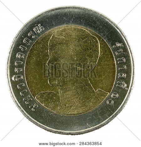 10 New Thai Baht Coin (2018) Obverse Isolated On White Background