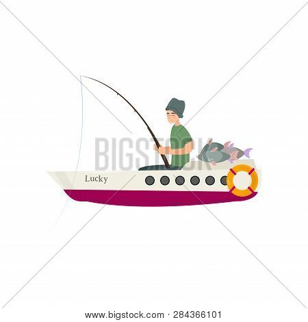 Fisherman Catching Fish On River Or Sea Using Motorboat, Male Fisher Character Sitting In Boat Vecto