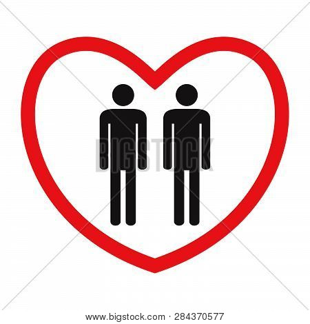 Homosexual Love Icon. Gays. Flat Style. Black And White Male Figures In Red Heart. Vector Illustrati