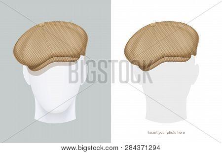 Flat Peaked Cap At Manikin. Classic Head Male Hat At Dummy. Stylish Tweed Headgear At Mannequin. Men