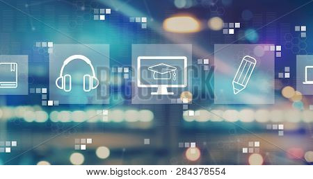 E-learning With Blurred City Abstract Lights Background