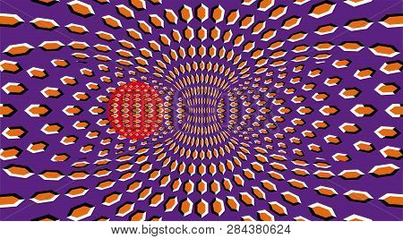 Optical Illusion Clipart Ball. Optical Motion Illusion. A Sphere Are Rotation Around Of A Moving Hyp