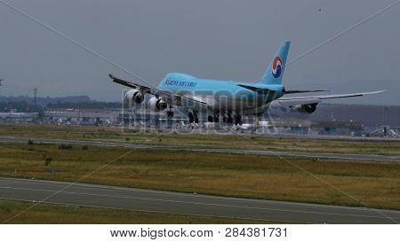 Frankfurt Am Main, Germany - July 20, 2017: Rear View Of Boeing 747-8b5(f) Hl7639 Of Korean Air Carg