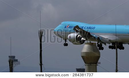 Frankfurt Am Main, Germany - July 20, 2017: Side View Of Boeing 747-8b5(f) Hl7639 Of Korean Air Carg