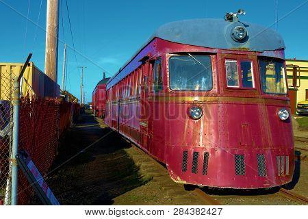 January 19, 2019 In Ft Bragg, Ca:  Vintage Rail Locomotive Taken At The Skunk Train Rail Depot In Ft