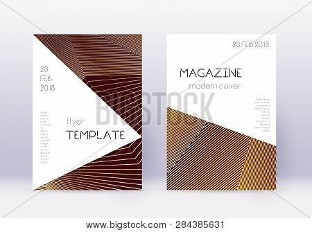 Triangle Cover Design Template Set. Gold Abstract Lines On Maroon Background. Impressive Cover Desig