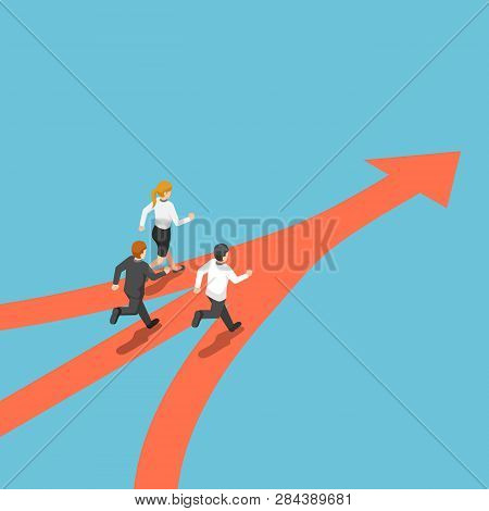 Flat 3d Isometric Business People Came From Different Way But Have Same Target. Business Team And Ta
