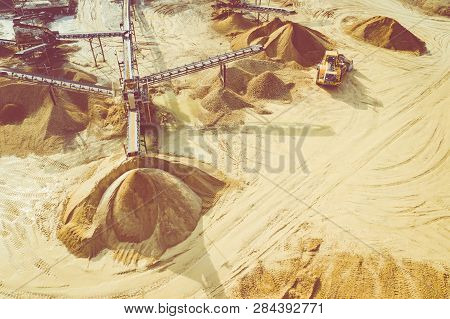 Aerial View Of Sandpit And Factory Plant Producing Sand Materials For Construction Industry. Top Vie