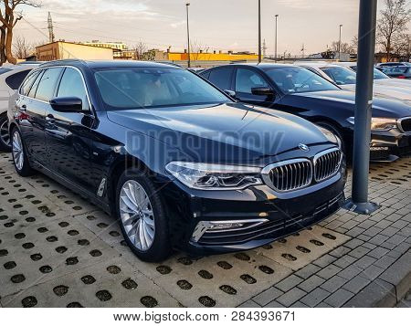 Gdansk, Poland - February 8, 2019: New model of BMW 5 series at the car showroom of Gdansk, Poland. BMW is a German automobile, motorcycle and engine manufacturing company founded in 1916