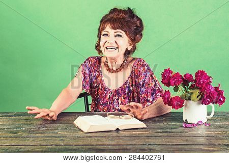 Writer And Poet, Granny Read Fairytale. Pension And Retirement, Old Age. Happy Old Lady Or Grandmoth