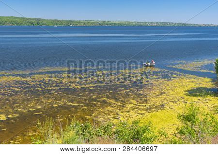 Tranquil Summer Landscape With Dnipro River In Central Ukraine