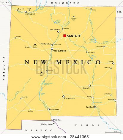 New Mexico, Political Map, With Capital Santa Fe, Borders, Important Cities, Rivers And Lakes. State