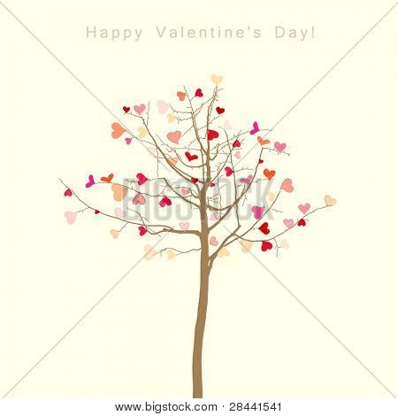 romantic tree with leaves in the shape of hearts