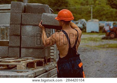 Construction Worker. Construction Worker Carry Bricks. Construction Worker Unload Truck. Constructio