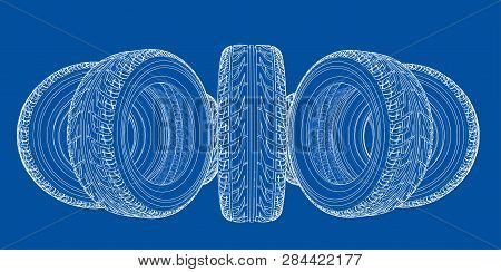 Car Tires Concept. Vector Rendering Of 3d. Wire-frame Style. The Layers Of Visible And Invisible Lin