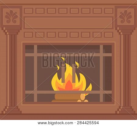 Luxury Brown Fireplace With Pilasters, Ornaments And Lattice Vector Closeup. Vintage Heater With Bur
