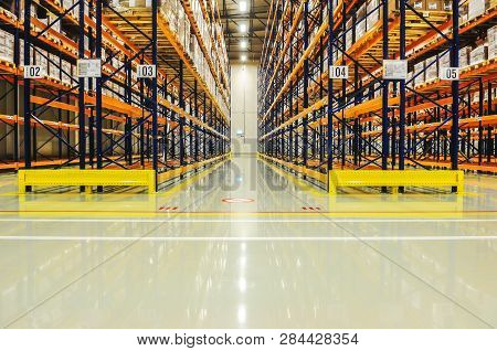 Warehouse Racking In Large Industrial Storage, Copyspace, Industrial, Manufacturing And Logistics Co