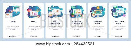 Web Site Onboarding Screens. Website Development, Coding, Font, 404 Error Page. Menu Vector Banner T