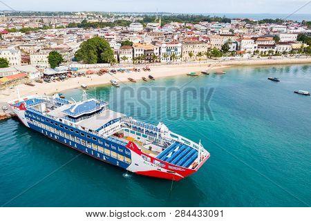 Zanzibar, Tanzania - May 05, 2018: Ro-ro Passenger Ship Azam Sea Link 2. New Ferry To Pemba Or Dar E