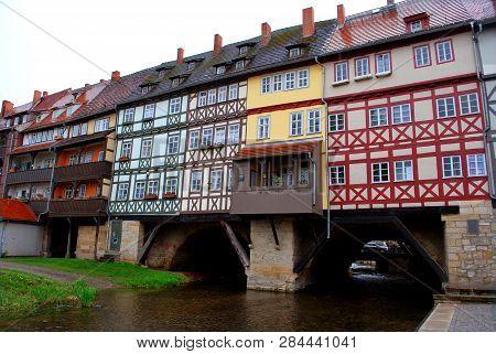 The Merchants' Bridge In Erfurt, Thuringia, Germany