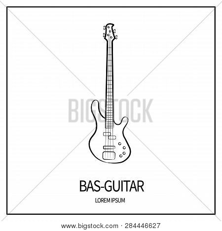 Bass Guitar, Stringed And Plucked Instrument. Linear Icon From Outlines. Outline.  Isolated On White
