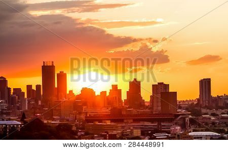 View Of Johannesburg City At Sunset