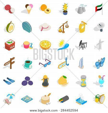 Tourism In Uae Icons Set. Isometric Style Of 36 Tourism In Uae Icons For Web Isolated On White Backg