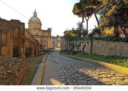 A cobblestone street in old Rome