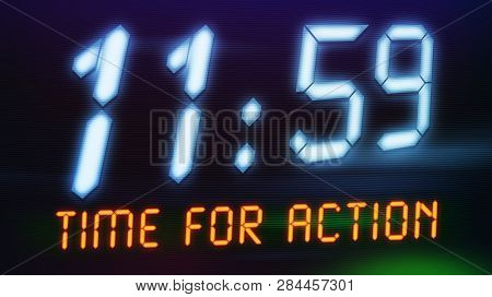 Illustration of a digital clock with text time for action