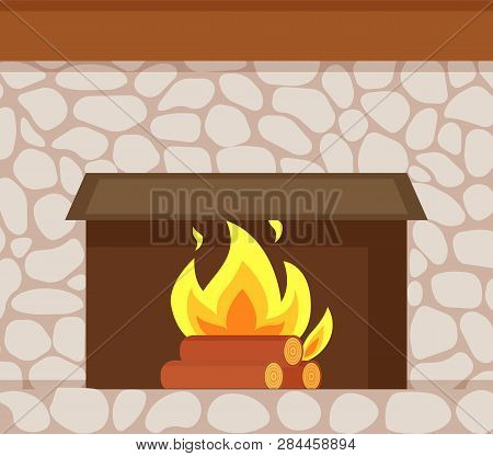 Burning Fire, Wooden Logs And Fireplace Made Of Stone Closeup Vector. Flame In Hearth At Base Of Chi