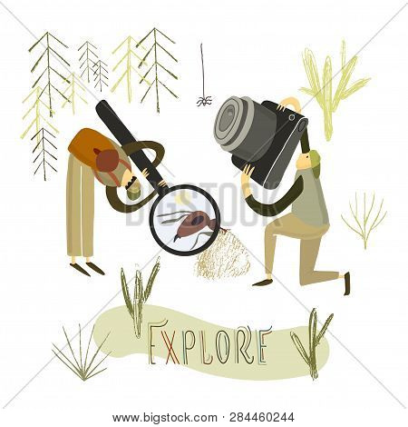 Two Guys Explore The Nature. Hand Drawn Stylized People.