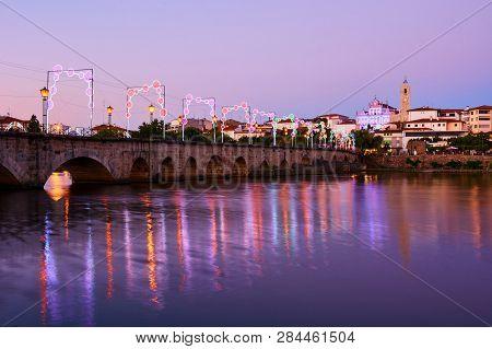 Mirandela, Portugal - July 20, 2014 : View Of The Pedestrian Bridge Over The Tua River In Mirandela,